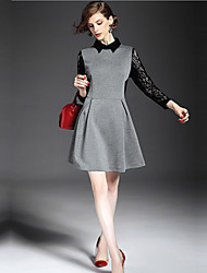 Women's Lace Gray Dress , Lace Shirt Collar Long Sleeve