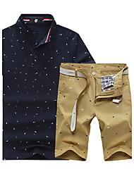 Men's Short Sleeve Set,Cotton / Spandex Color Block