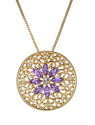 Flower Round Hollow Gemstone Pendant Necklace.