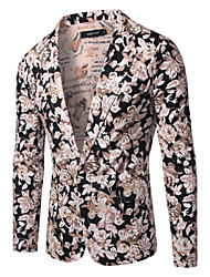 Men's Long Sleeve Long Blazer,Cotton Print