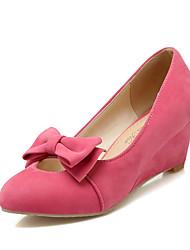 Women's Shoes Fleece Summer/ Round Toe Heels Office & Career/Casual Wedge Heel Bowknot Black Yellow/Red/Beige