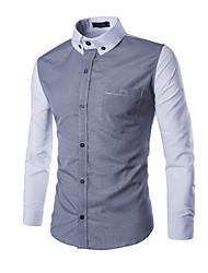 Men's Long Sleeve Shirt , Polyester Work / Formal Plaids & Checks