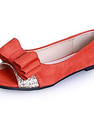 Zapatos de mujer - Tacón Plano - Punta Abierta / Puntiagudos - Planos - Vestido / Casual - Ante - Negro / Naranja / Azul Real