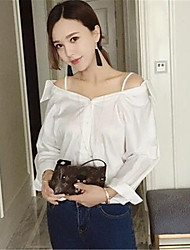 Women's Solid White Shirt,Off Shoulder Long Sleeve