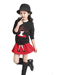 Cute Girls Two-Piece Set Character Patchwork Long Sleeve Sweatshirt Elastic Waist Mini Skirt Outfits
