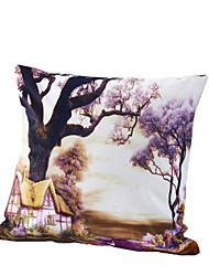 3D Design Print Purple Tree Decorative Throw Pillow Case Cushion Cover for Sofa Home Decor Polyester Soft Material
