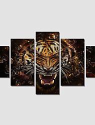 Animal / Moderno Impressão em tela 5 Painéis Pronto para pendurar , Horizontal
