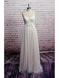 Sheath / Column Wedding Dress Floor-length V-neck Satin / Tulle with Appliques