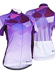 Nuckily Cycling Jersey Women's Short Sleeve Bike Jersey TopsUltraviolet Resistant Moisture Permeability Water Bottle Pocket Wearable