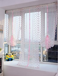 1PCS Roman Curtains Pink Flower Embroidery Sheer Shade Balcony Windows Curtain