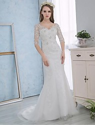 Trumpet / Mermaid Wedding Dress Sparkle & Shine Court Train V-neck Lace Satin with Lace Appliques Crystal