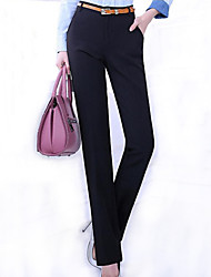 Women's Solid Black OL Style Bodycon Suit Pants , Plus Size / Work