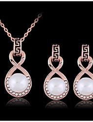 Collier / Boucles d'Oreille ( Rose Plaqué Or / Zircon Cubique / Imitation Perle ) Vintage / Mignon / Soirée / Travail pour Femme