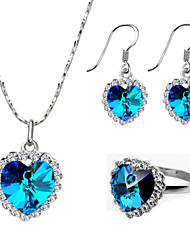 HKTC The Heart of Ocean Blue Austrian Crystal Necklace Earrings and Ring Jewelry Set For Lover