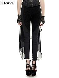 Punk Rave K-247 2016 Hot Sale Punk Black Skinny Harem Pants Plain Dyed Cotton Pants Chiffon Forktail Women Pants