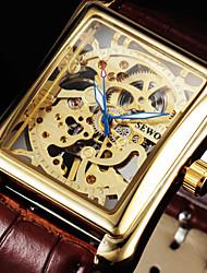 Мужской Наручные часы Механические часы Механические, с ручным заводом С гравировкой Кожа Группа Люкс Черный Коричневый