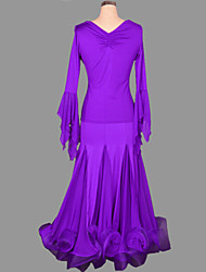 Ballroom Dance Outfits Women's Performance Spandex Draped 2 Pieces Skirt Top S-XXL:90