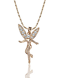 HKTC Lovely 18k Rose Gold Plated Waving Wings Female Wizard Angel Pendant Necklace