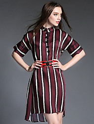 Women's Casual / Day / Holiday Striped Sheath Dress , Stand Asymmetrical Others