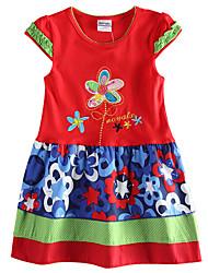 Girl's Short Sleeve Summer New 2016 Floral Dress Children Dresses(Random Printed)