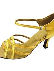Women's Dance Shoes Latin / Salsa / Samba Satin Customized Heel Black / Blue / Yellow / Green / Red / White / Gray