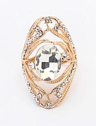 Anéis Pesta / Diário / Casual Jóias Liga / Strass / Vidro Feminino Anéis Grossos 1pç,8 Dourado / Preto / Prateado