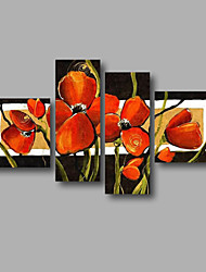 "Ready to Hang Stretched Hand-painted Oil Painting 64""x40"" Canvas Wall Art Modern Flowers Black Red Art"