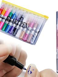 12 colours 3D Art pen Dotted Painting flowers pen drawing pen+1 Cuticle Revitalizer Oil