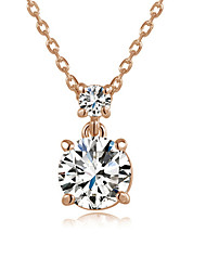 HKTC Elegant 18k Rose Gold Plated 2 Carat Cubic Zirconia Simulated Diamond Pendant NecklaceImitation Diamond Birthstone