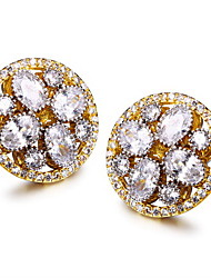 Top Quality square stud earrings Deluxe Prong Setting Cubic Zircon Brass Bridal Earrings Jewelry Round stud earrings