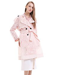 Women's Casual/Daily Street chic Trench Coat,Solid Notch Lapel Long Sleeve Pink / Black Silk
