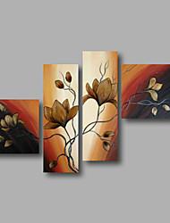 Ручная роспись Абстракция / Цветочные мотивы/ботаническийModern 4 панели Холст Hang-роспись маслом For Украшение дома