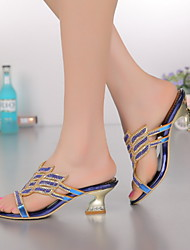 Women's Shoes Leather Chunky Heel Heels Sandals Party & Evening / Dress / Casual Blue / Purple / Gold