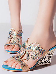 Women's Summer Wedges Leatherette Dress / Casual / Party & Evening Wedge Heel Blue / Gold