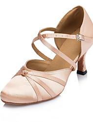 Chaussures de danse(Noir Rose) -Personnalisables-Talon Personnalisé-Satin-Moderne