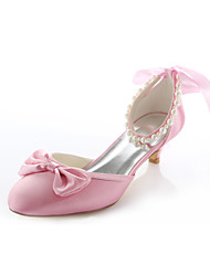 Women's Spring Summer Fall Stretch Satin Wedding Dress Party & Evening Low Heel Imitation Pearl Pink