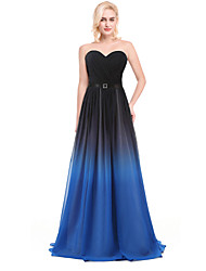 Cocktail Party Dress - Silver / Multi-color / Ocean Blue Ball Gown V-neck Floor-length Chiffon / Charmeuse