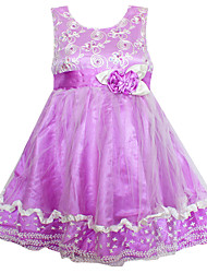 Girl's Pearl Flower Mesh Party Pageant Bridesmaid Wedding Kids Clothing Dresses