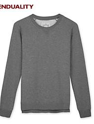 Trenduality® Hombre Escote Redondo Manga Larga Camiseta Gris Oscuro - ZZ022