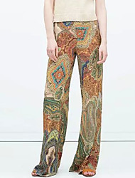 Women's Print Multi-color Wide Leg Pants , Casual / Day
