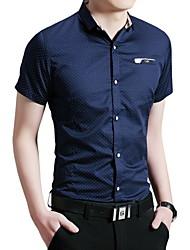 Masculino Camisa Casual / Escritório / Formal / Tamanhos Grandes Estampado Manga Curta Algodão Azul / Branco