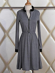 Women's Solid Gray Dress , Sexy Round Neck Long Sleeve