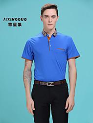 2016 New Fashion Men's Polo Pure Shirt Short Sleeve   Europ and American Stylish 100%LYCRA Casual Shirt Formal Shirt