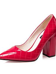 Women's Shoes Chunky Heel Heels / Pointed Toe / Closed Toe Heels Dress Black / Blue / Red / Silver / Khaki