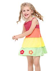 Girl's Dress Sundress Flowers Layered Dress Cupcake Dress for Summer Children Dress(Random Printed)