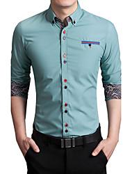 Men's Long Sleeve Shirt , Cotton / Acrylic Work / Formal Print / Pure K113