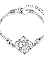 Lureme® Romantic Big Flower with Zircon Snake Chain Bracelet for Women Silver Plated Jewelry
