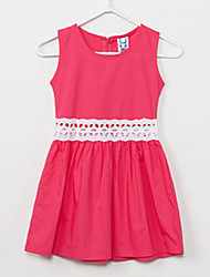 Vestido Chica de - Verano - Lino / Poliéster - Azul / Rojo