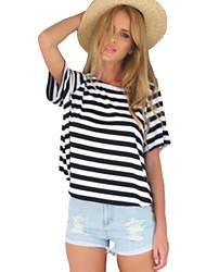 Damen Solide / Gestreift Einfach Lässig/Alltäglich T-shirt,Rundhalsausschnitt Sommer Kurzarm Schwarz Polyester Mittel