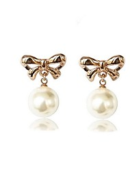 Full Austria Crystal Drop Earrings for Women Imitation Pearl Bow Earrings Fashion Jewelry Accessories